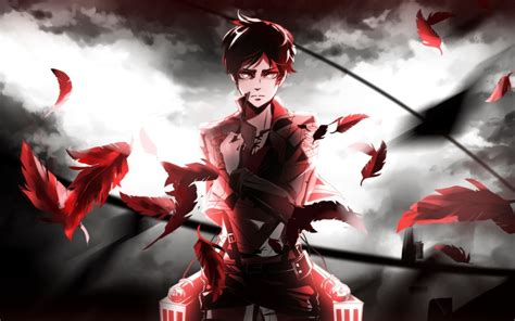 wallpaper anime red shingeki  kyojin eren jeager
