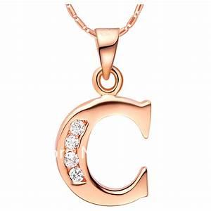 fashion necklace rose gold platinum 18k c of 26 letter With letter c gold pendant