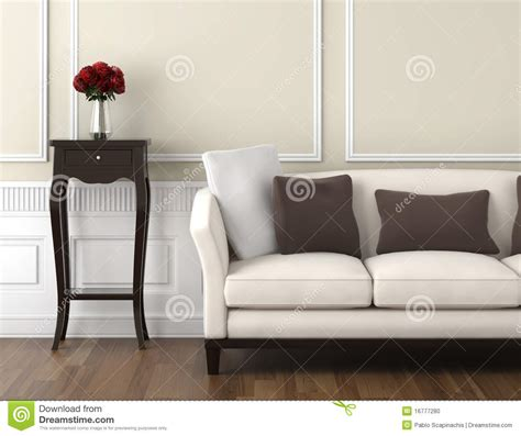 beige and white classic interior stock illustration