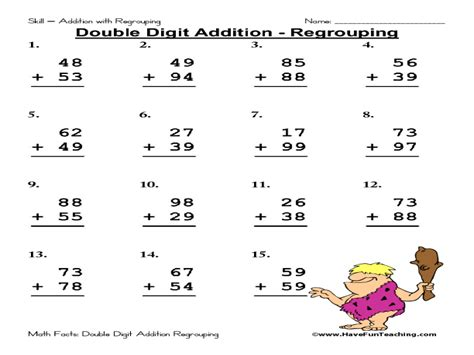 2nd grade math worksheet 2 digit addition digit addition regrouping worksheet for 2nd 3rd