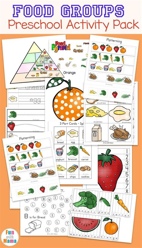 food groups preschool activity pack educational 609 | c673568fa25540fbe3a06a00411af459 homeschool worksheets food groups