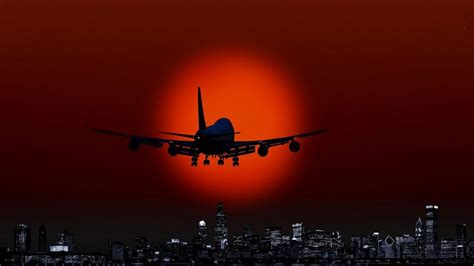 Red Sun Jet Flying Over The City Art Hd Wallpaper