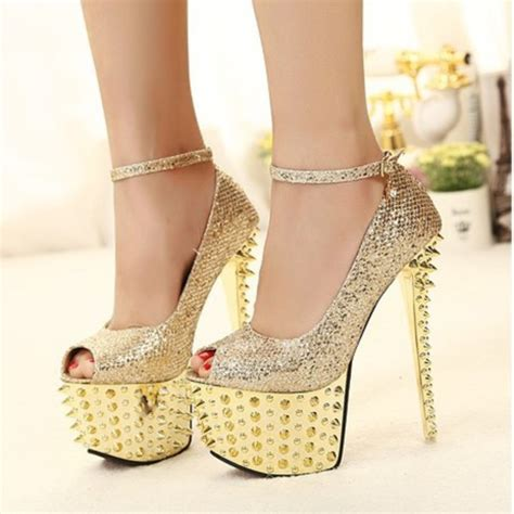 Heals Sofas by Shoes Pumps Spikes Gold Cute Girly Classy