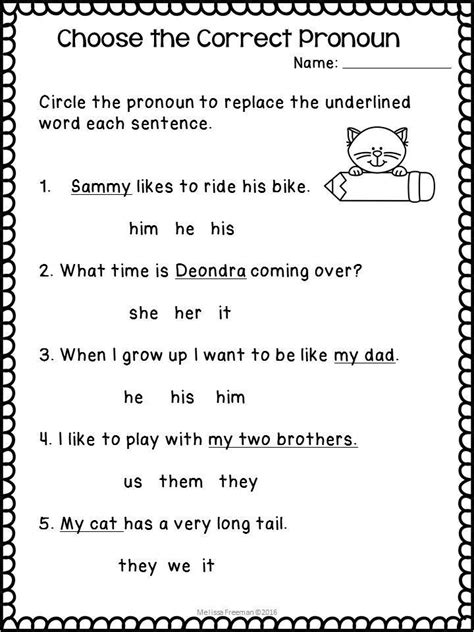 pronouns worksheets for and second grade