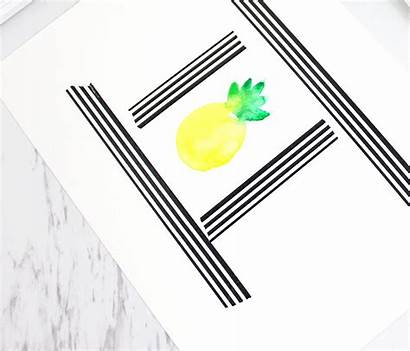 Pineapple Watercolor Paint Washi Tape Lines