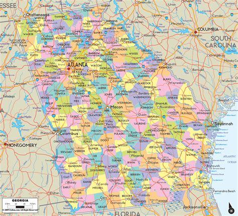 political map  georgia ezilon maps