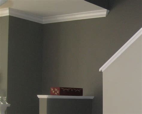 benjamin moore dolphin af  fireplace    stairs