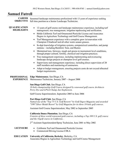 Golf Professional Resume by Best Photos Of Irrigation Resume Cover Letter Resume Description Responsible Irrigation