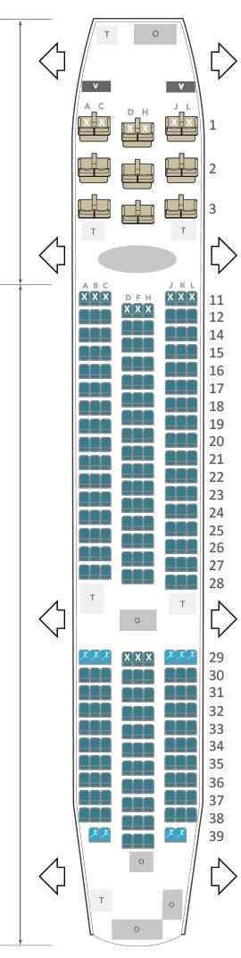 siege air austral boeing 787 air austral plan cabine envergure