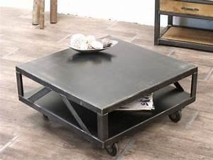Table De Salon Industrielle : table salon metal table basse cuir maisonjoffrois ~ Teatrodelosmanantiales.com Idées de Décoration