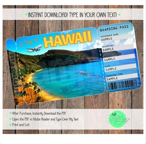 printable ticket  hawaii boarding pass customizable etsy