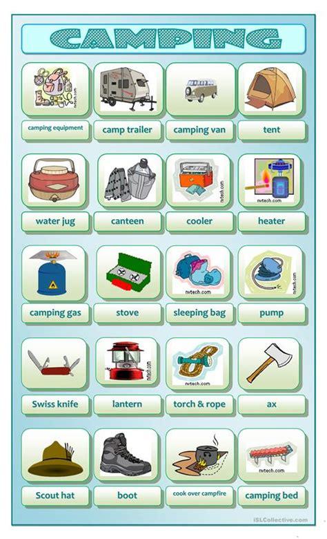 camping worksheet  esl printable worksheets