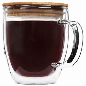 Tayyakoushi, Large, Glass, Coffee, Mugs, With, Bamboo, Lids, 16, Oz, Uff0cset, Of, 2, Clear, Double, Wall, Glasses