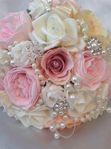 shabby chic wedding bouquets vintage bride brooch pearls shabby chic diamante wedding