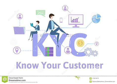 Kyc, Know Your Customer Concept Table With Keywords, Letters And Icons Colored Flat Vector