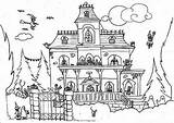 Haunted Coloring Pages Halloween Drawing Printable Monster Houses Satanic Cat Spooky Draw Print Getdrawings Getcolorings Beatiful sketch template