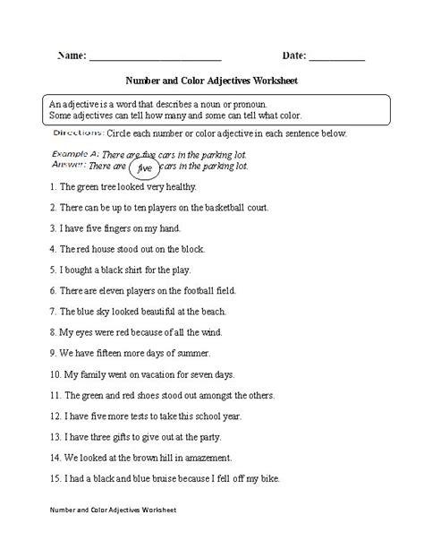 limiting adjectives worksheets for grade 5 superlative