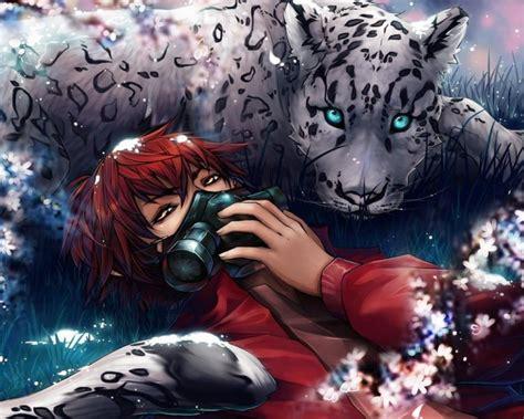 Anime Boys Gas Masks Eyes Big Cats Tiger Flowers