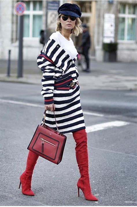 Black White Red Stripe Gucci Dress With Over The