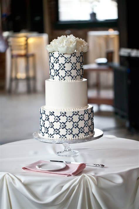 white  navy wedding cake
