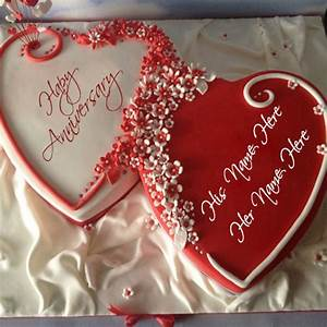 Heart Shape Anniversary Cake Pics With Name | wishes ...
