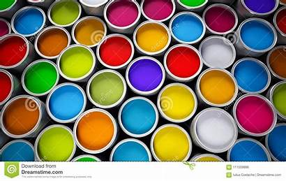 Paint Cans Open Illustration Various Liquid