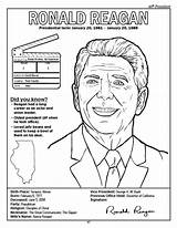 Coloring Presidents President Reagan Ronald States United History Coloringbook Kennedy John sketch template