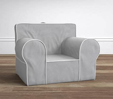 ruffle anywhere chair slipcover only gray with white piping oversized anywhere chair slipcover