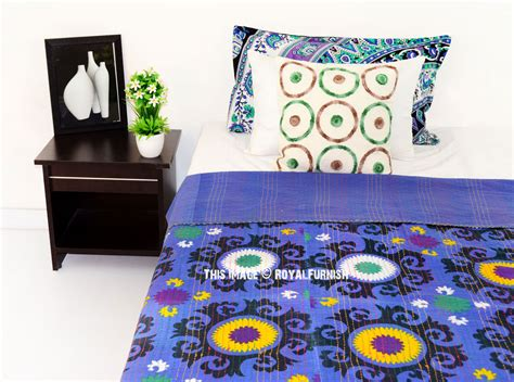 Blue Suzani Floral Printed Cotton Kantha Quilted Blanket