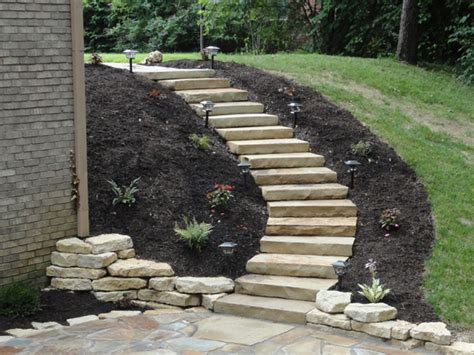 steps for landscaping a yard walls stone steps greenwood in landscape design installation experts ambiance gardens