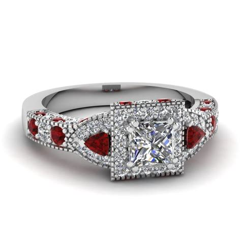 trillion princess ring halo engagement rings and