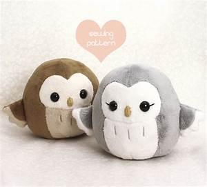 PDF sewing pattern - Owl plush toy - easy kawaii stuffed ...