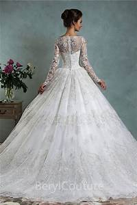 classy ball gown bateau neck long sleeve vintage lace With long sleeve vintage wedding dresses