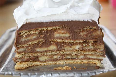 graham cracker cake pass the peas please chocolate banana and graham cracker icebox cake