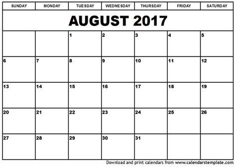 calendar template august 2017 august 2017 calendar printable template with holidays pdf usa uk