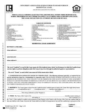 New Jersey Association Of Realtors Standard Form Of