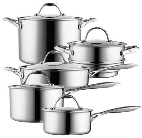 cookware cooks standard multi piece ply clad stainless steel sets kitchen professional cook chef cooking contemporary quart saucepan overstock
