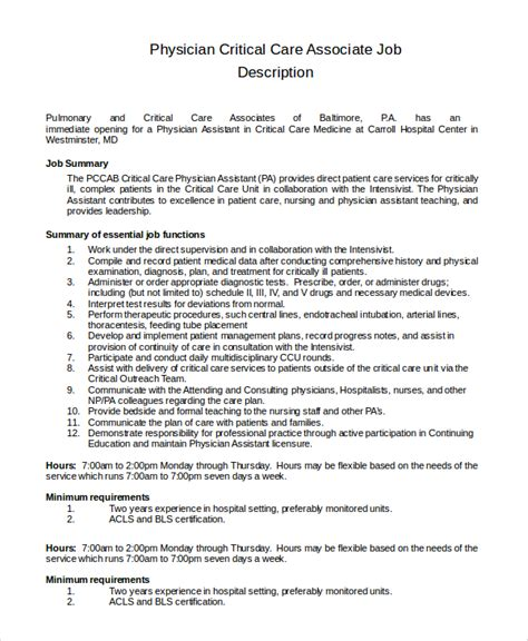 Icu Charge Resume Sle by 28 Critical Care Description Resume Critical Care Resume
