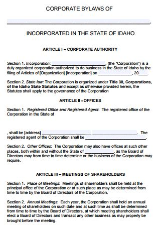 idaho corporate bylaws template  word
