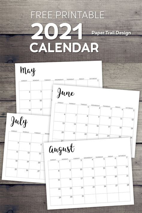 calendar printable  template paper trail design