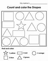 Shapes Worksheet Worksheets Counting Coloring Colouring Pages Printable Shape Count Kindergarten Preschool Colors Solid Activities 1st Template Toddler Ws Eslkidstuff sketch template