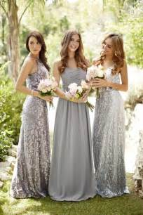 silver bridesmaid dress mismatched silver sequined bridesmaid dresses via vow to be chic deer pearl flowers