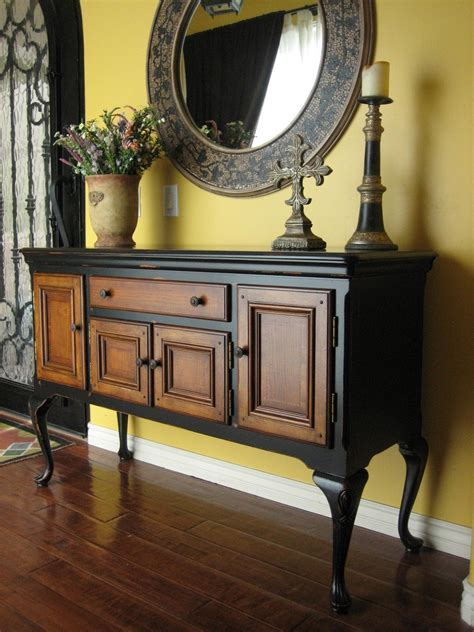 european paint finishes black sideboard  wood inlay