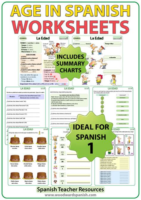 spanish age worksheets woodward spanish