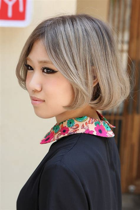 japanese hairstyles chin length gray bob cut  cute