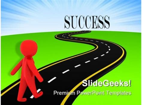 road  success metaphor powerpoint templates