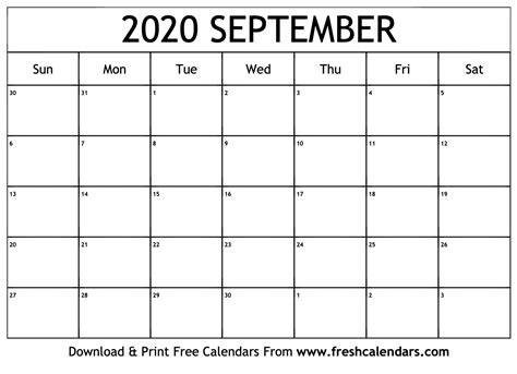 september calendar printable fresh calendars