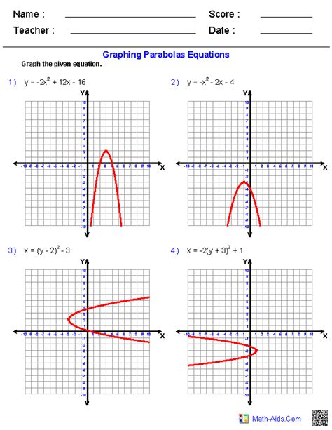 graphing quadratic functions worksheets for my