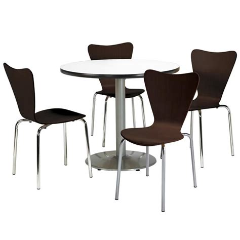 kfi silver base cafe table with four 3888 stack chairs
