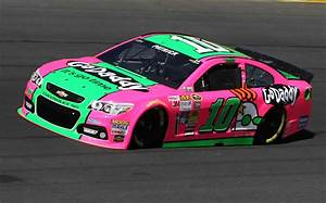 Danica Patrick driving pink and green Go Daddy car at ...